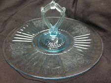 Anchor Hocking Glass Blue Mayfair Open Rose Sandwich Server