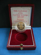 RARE 1989 ROYAL MINT TUDOR ROSE 500TH ANNIV GOLD PROOF SOVEREIGN With box & COA