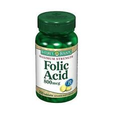 Nature's Bounty Folic Acid 800 mcg Tablets Maximum Strength 250 Tablets Each