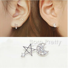 2Pcs Crystal Moon Star Earings Dazzling Rhinestone Asymmetry Earrings Jewelry