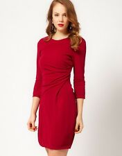 KAREN MILLEN RARE RED JERSEY PLEATED FRONT DRESS SIZE 10 BRAND NEW TAG