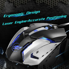Mute Silent 3200 DPI Optical Gaming Wired USB PC Mouse Noiseless Quiet Game Mice