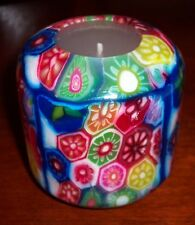 PILLAR HANDMADE GLOW IN DARK BRIGHT MULTI-COLOR+BLUE TRIM DESIGN CANDLE+BOX-#72