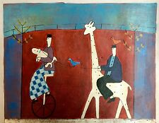Hand Painted Oil Painting on Canvas of Funny Quirky Abstract Bike/Giraffe Ride
