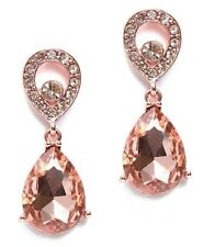 NEW Pretty Peach Crystal Rose Gold Tone Teardrop Dangle Earrings Prom Bridal
