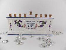 "Messianic Hanukkah Menorah ""Light of the World"" White Ceramic Blue Trim Grape"