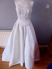 QUALITY (THE WHITE ROSE COLLECTION) SATIN WEDDING BODICE & SKIRT SIZE 12