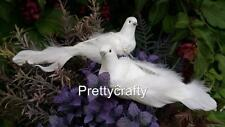2 Large Decorative Birds White Dove Doves Real Feather On clip Wedding Cake