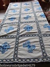 wunderschönes altes Tischtuch Tischdecke Leinen blaue Stickerei Klöppelspitze