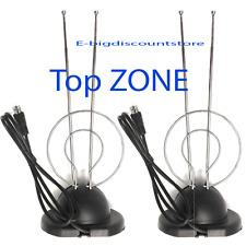 2X Universal Indoor Rabbit Ear Color TV Indoor Antenna  UHF VHF HDTV Broadcast