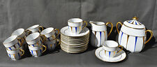 SERVICE THE CAFE EN PORCELAINE DE LIMOGES DECOR DE DORURE VINTAGE ART DECO