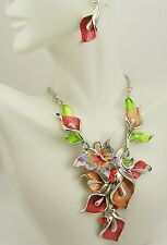 "Joan Rivers Calla Lily Enamel & Crystal Necklace & Earring Set PIERCED  16"" 3"""