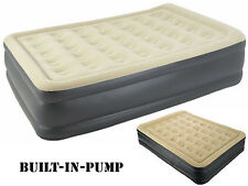 INFLATABLE HIGH RAISED DOUBLE AIR BED MATTRESS AIRBED W BUILT IN ELECTRIC PUMP