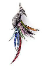 NEW PHOENIX BIRD MULTICOLOR GENUINE AUSTRIAN CRYSTALS PIN BROOCH IN SILVER TONE