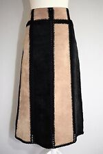 REAL LEATHER SKIRT MIDI LONG PATCHWORK SUEDE BOHEMIAN COUNTRY HIPPIE MORI 14