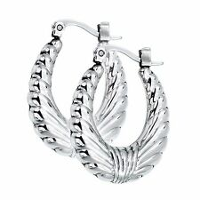 New Stainless Steel Silver Hoop Earrings Rope Wing Design Shiny High Polished