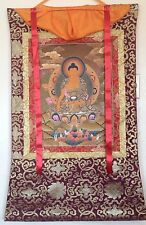EARTHTOUCHING GOLD LEAF TIBET BUDDHA SILK FRAME THANGKA PAINTING #112225