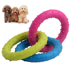 Durable Rubber Triple Rings Pet Dog Puppy Cat Pulling Chew Toy Play Training New