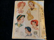 Vintage 1950 McCall's Sewing Pattern Ladies' Hats +Bag Head Size 22 Millinery P6