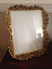 "ANTIQUE VTG GOLD GILT METAL  8"" X 10"" Image GLASS TABLE PICTURE FRAME"