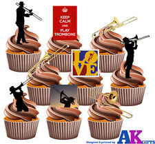 Trombone Party Pack 36 Edible Stand Up Cup Cake Toppers Blues Jazz Decorations