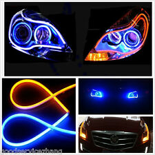 2xFlexible 60cm blue+Amber Switchback Guide LED Strip Tube DRL Turn Signal Light
