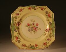 Royal Winton Yellow Floral Square Salad Plate Pattern # 1048, England c. 1930