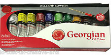 NEW DALER ROWNEY ARTIST GEORGIAN OIL PAINT TUBES 10x38ml STUDIO SET + FREE BRUSH