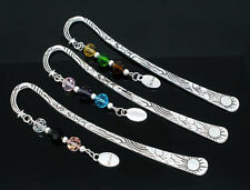 "15 Charm Bookmarks W/Crystal ""Believe"" Dangle Bead 123mm"