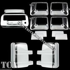 For 08-15 Ford F250 F350 Super Duty Chrome Cover Set Handle Mirrors Tailgate 7PC
