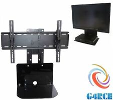 "TV Shelf Floating Black + Wall Mounts & Bracket 32-70"" With Glass Support UK"