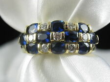 Spark Creations 18K Blue Sapphire G/VS Diamond Ring Band Fine Jewelry $5500