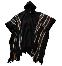 Hooded jacket made of handloom with alpaca wool poncho black, cloak for man