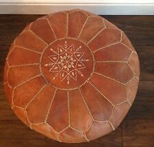Moroccan Leather Pouffe (unfilled) - Natural Tan