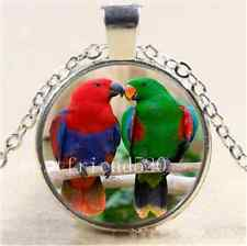 Beautiful Parrot Love Cabochon Glass Tibet Silver Chain Pendant Necklace#984