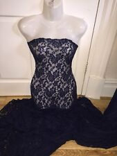 "1 MTR NAVY BLUE COTTON THREAD LYCRA STRETCH LACE FABRIC.. 65"" WIDE SPECIAL OFFER"