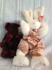 "2 Beanie Baby Attic Treasures Collection Vintage ""Sara"" and ""Beargundy"" Rabbitt"