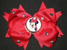"NEW ""MINNIE MOUSE"" Rhinestone Hair Bow Girls Ribbon Clip Disney World Vacation"