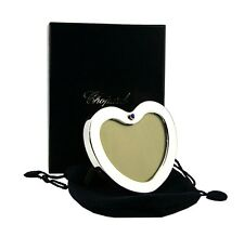 CHOPARD STERLING SILVER SMALL HEART PICTURE FRAME 18K GOLD & SAPPHIRE NEW BOX