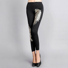 Lady Fashion Pencil Pants Sequined Wing Leggings High-elastic Skinny Trousers
