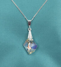 925 18 Inch Sterling Silver Necklace w Swarovski Clear AB Cosmic Crystal Pendant