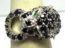 STERLING SILVER LEOPARD PANTHER FIGURAL RING BLACK GREEN CLEAR STONES SIZE 6