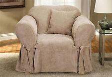 1 pc Sure Fit Soft Suede Chair Slipcover Taupe/Tan for box seat cushion