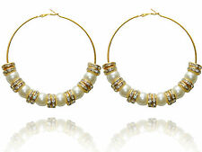 Fashion Charm Bling Gold White Pearl Big Hoops Basketball Wives Earrings E198
