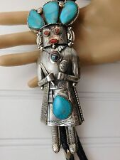 """Vtg Navajo Gomez Sterling Silver Turquoise Red Coral Huge 6"""" KACHINA Bolo Tie"""