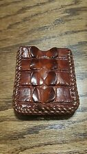Brown Caiman tail card case/money clip, hand laced, made in the USA