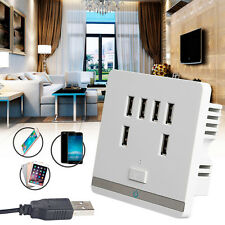 6 Port 3.4A USB Wall Charger Socket Power Receptacle Outlet Plate Panel Switch