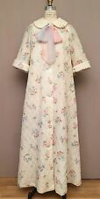 Vintage 50's Quilted Robe Dressing Gown Floral Gidding Jenny Malouf Negligee M