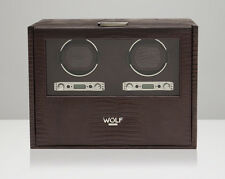 WOLF Blake 2.7 Double Automatic Watch Winder Battery Operated Brown Leather NEW