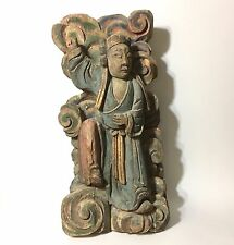 """Fine Antique Chinese Carved Wood Polychrome Temple Deity Figure Qing 19th C. 16"""""""